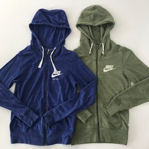 Nike vintage zip up hoodie set of 2, blue green xs